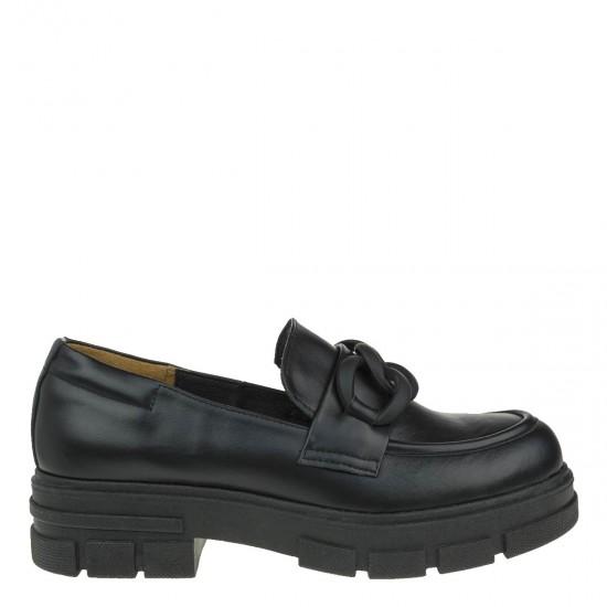 2000213601 Γυναικεία loafers mocassins δίπατο δέρμα μαύρο
